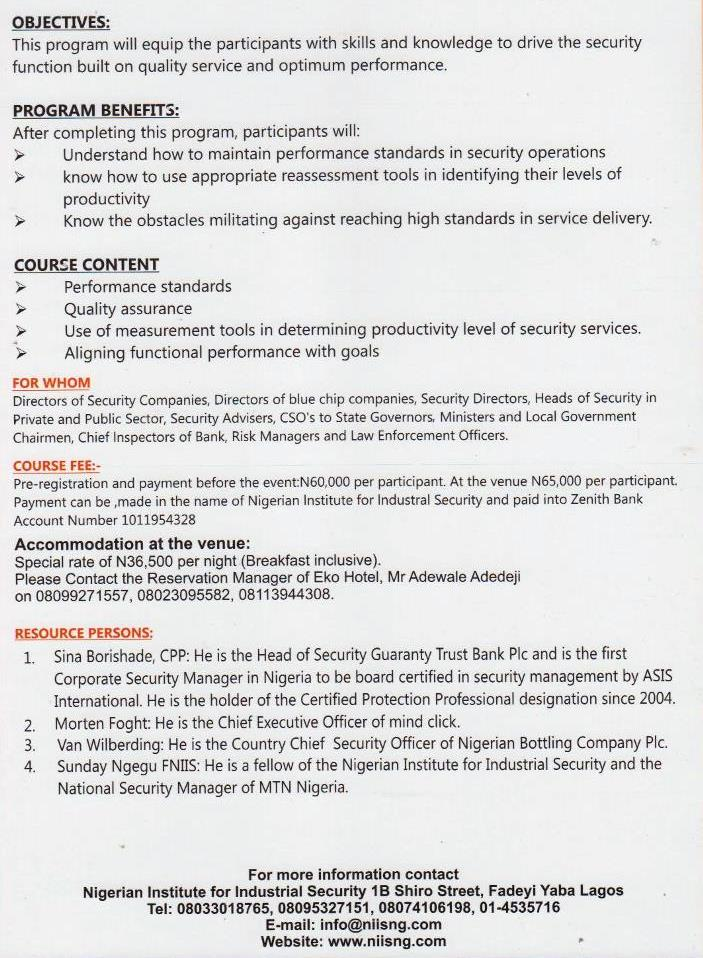 Flier for NIIS 5th Annual Conference for Heads of Security   2